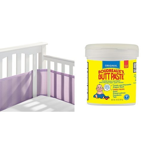 BreathableBaby Mesh Crib Liner, Lavender &  Boudreaux's Butt Paste Diaper Rash Ointment - Original- Paraben and Preservative-Free - 16 Ounce ( Packaging May Vary )