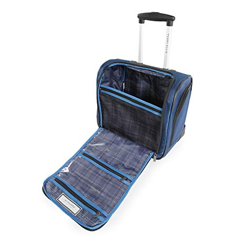 41MLGUEwqnL - Perry Ellis Men's Excess 9-Pocket Underseat Rolling Tote Carry-on Bag Travel, Navy, One Size