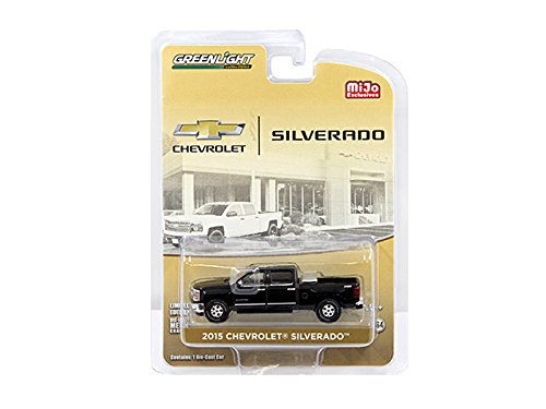 2015 Chevrolet Silverado Pickup Truck Black with Tow Hitch and Tool Box Limited Edition to 2400pcs 1/64 by Greenlight 51109 B