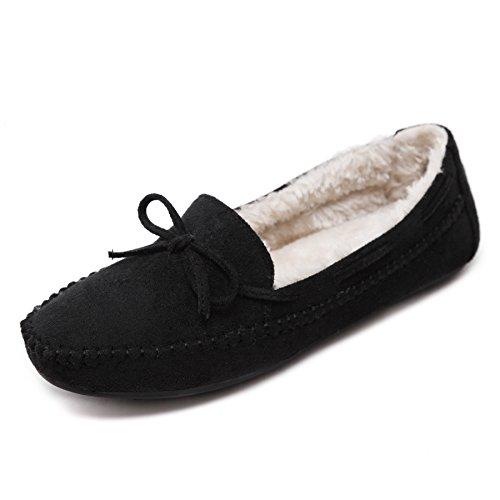Meeshine Dames Namaakbont Pantoffels Comfortabele Zachte Indoor Outdoor Mocassin Loafer Zwart