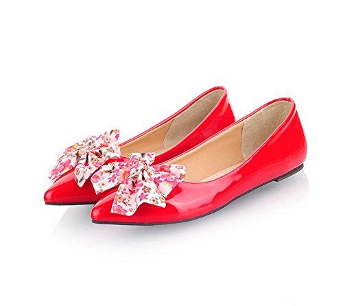 Chfso Dames Elegante Lakleder Poninted Bowknot Bloemen Flats Schoenen Rood