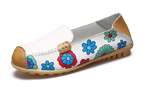 Flat White Walking Loafer Venuscelia Comfort Floral Women's YwB8gfgn