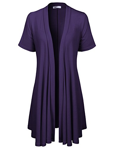 Ruffle Sleeve Cardigan Short (H2H Womens Open Front Draped Basic Designed Cardigan with Various Styles Purple US 2XL/Asia 2XL (CWOCAS07))