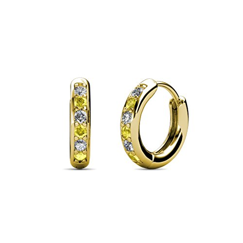 Petite Yellow Sapphire and Diamond (SI2-I1, G-H) Huggies Hoop Earrings 0.25 Carat tw in 14K Yellow (0.25 Ct Tw Hoop)