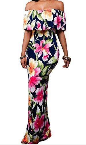 YeeATZ Print Off-the-shoulder Maxi Dress(Multicolor,L)