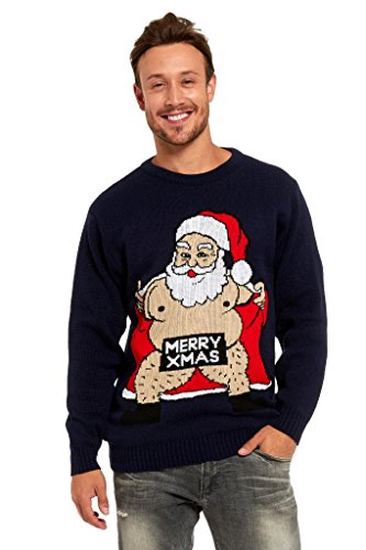 YOU LOOK UGLY TODAY Knitted Mens Ugly Christmas Sweater Unisex with Santa Reindeer Jumper Naked Santa-X (Ugly Xmas Sweaters For Men)