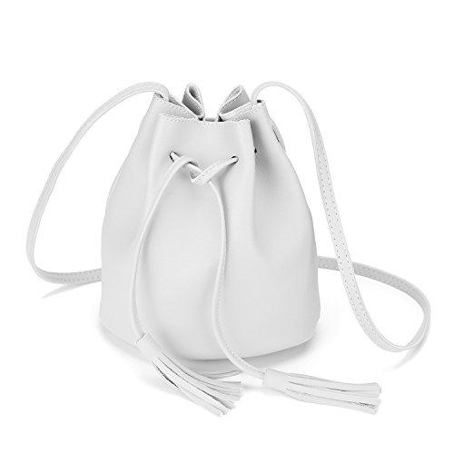 Crossbody Handbags Drawstring Bucket Bag for Women Shoulder Bag Purse Tote PU Leather Bags (One Size, Gray)