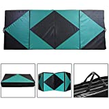 Ainfox Gymnastic Mats, Gymnastic Mats Foldable Thick Panel PU Leather Yoga Fitness Equipment Green (1310) (Green, 4'x8'x2'')
