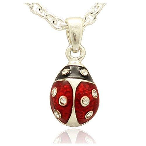 MYD Jewelry Silver or Gold Plating Mini Ladybug Faberge Style Easter Egg Pendant Necklace (silver red) - Faberge Style Pendants Faberge Eggs