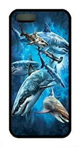 iPhone 5S Case and Cover -Shark Collage TPU Silicone Rubber Case Cover for iPhone 5 and iPhone 5s Black