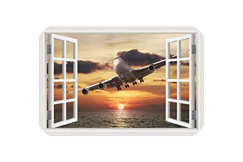 (Landscape Wallpaper Airplane 3D Wall Sticker Decal Vinyl Wall Art Mural Large Window View Blue Sky Home Decor Living Room,2,70x100cm 28x40inch)