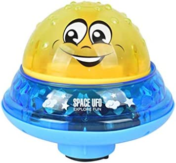 お風呂のおもちゃ 子供の自動散水ボール風呂のおもちゃは回転することができます ハッピーバス LED +ミュージック (C イエロー+ブルー)