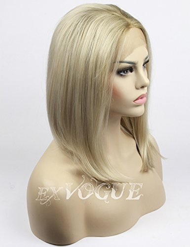 Search : Exvogue Ombre Bob Wig African American Synthetic Lace Front Blonde Wigs for Women Short Silk Straight Middle Parting