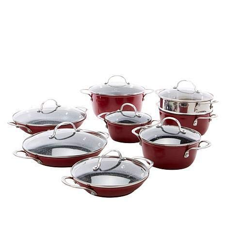 Curtis Stone Dura-Pan Nonstick 15-piece Nesting Cookware Set Model 655-425 (Renewed)
