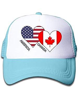 America Canada Flag Heart On Children's Trucker Hat, Youth Toddler Mesh Hats Baseball Cap