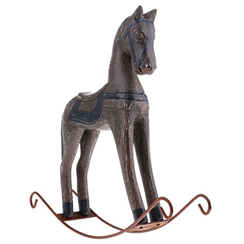 Dovewill Horse Traditional Wooden Sculpture Hand Painted Arts Decor -Animal Figurine - Gray, 31 x 7 x 31cm