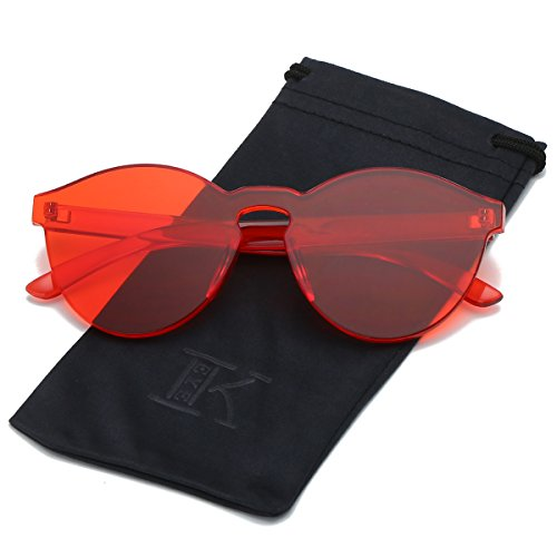 LKEYE-Fashion Party Rimless Sunglasses Transparent Candy Color Eyewear LK1737 Red - Sunglasses Plastic Cheap