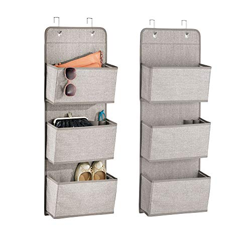 - mDesign a568 Soft Fabric Over The Door Hanging Storage Organizer with 3 Large Pockets for Closets in Bedrooms, Hallway, Entryway, Mudroom-Hooks Included-Textured Print, 2 Pack-Linen/Tan
