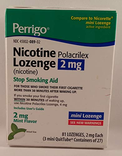 - Perrigo Nicotine Polacrilex Mini Lozenge, 2mg Stop Smoking Aid, Mint Flavor, 81 Lozenges