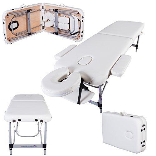 Massage Imperial - Tragbare Massageliege Knightsbridge - Aluminium 10 kg - 5 cm Schaumstoff Mit Hoher Dichte - Elfenbein weiß