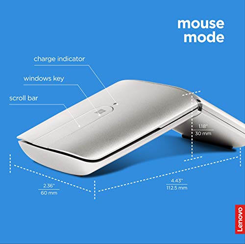 Lenovo Yoga Mouse, Silver, Ultra Slim 13.5mm, 180 Degree rotatable Hinge, 2.4G or Bluetooth 4.0 Wireless Connection…
