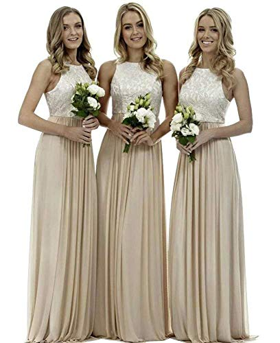 Bridesmaid Line Dresses Empire - Lace Bridesmaid Dresses Long a-line Chiffon Evening Gown Wedding Party Womens 2019 Champagne 6