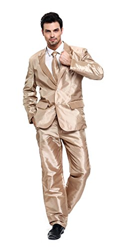 (U LOOK UGLY TODAY Men's Party Suit Christmas Solid Color Bachelor Party Suit Gold)