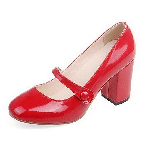 VogueZone009 Damen Lackleder Quadratisch Zehe Hoher Absatz Schnalle Rein Pumps Schuhe Rot
