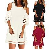 Toponly Women's 3/4 Bell Sleeve Mesh Panel Dress