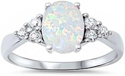 White Australian Opal & White CZ Ring