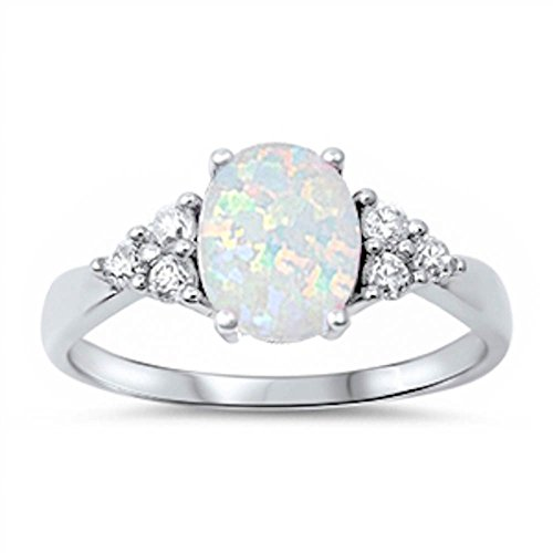 Sterling Silver Oval Lab Created White Opal & White Simulated Diamond Ring Size 6