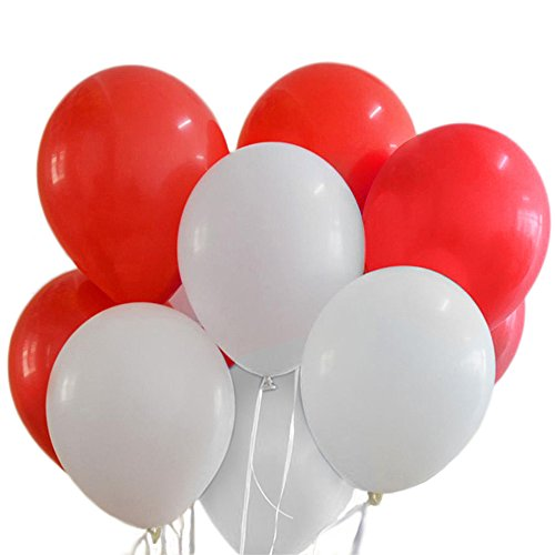 100 Premium Quality Balloons: 12 inch Red and white latex balloons/wedding/birthday party decorations and Events Christmas Party and etc. ()