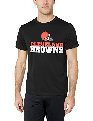 OTS NFL Cleveland Browns Male Poly Dot Tee, Jet Black, Medium