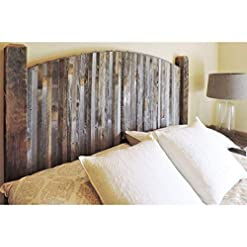 Bedroom Modern Farmhouse Style Arched Queen Size Bed Headboard with Narrow Weathered Reclaimed Wood Slats, Rustic Contemporary… farmhouse headboards