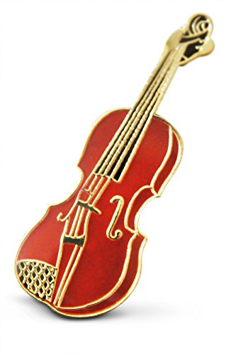 String Bass Costume (3-Piece Light Brown String Violin Fiddle Musician Lapel or Hat Pin & Tie Tack Set with Clutch Back by Novel Merk)