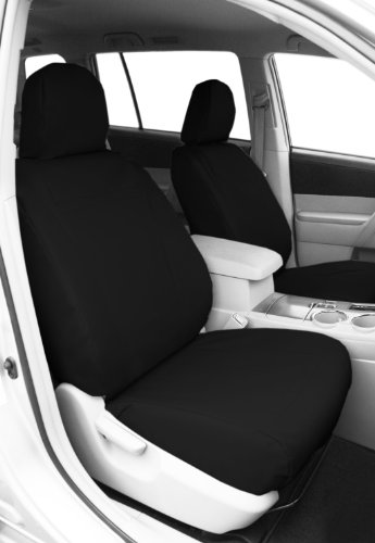 CalTrend Front Row Bucket Custom Fit Seat Cover for Select Chevrolet Silverado/GMC Sierra Models - DuraPlus (Black Insert and Trim) -