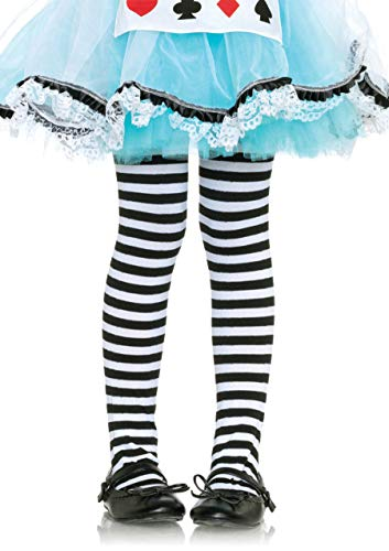 Leg Avenue Children's Striped Tights, Large, Black/White (Black And White Dress With Black Tights)