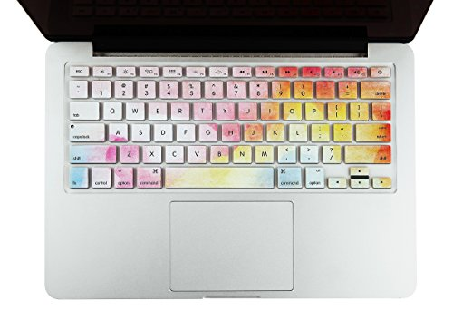 KEC Keyboard Cover Skin for MacBook Air 13, Old Pro 13, 15, 17 (w/or w/Out Retina Display, -2015) and iMac (Rainbow Mist)