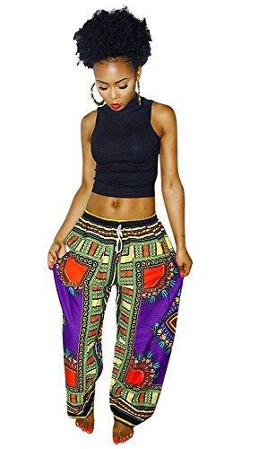 Womens Dashiki Drawstring Waist Trousers Bohemian Wide leg Lounge Pants Purple - The Clothing Hut