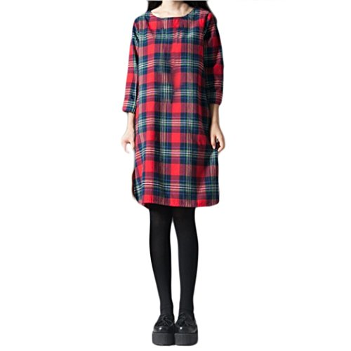 Women's Dress, Koolee Plus Size Autumn Lady Plaid Lattice Cotton and Linen Long Sleeves Loose Long Section Dress (2XL, Red)