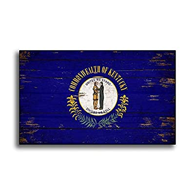 CELYCASY Kentucky State Wood Flag Sign Flags Wooden Handmade Home Wall Decor Print Printed Sign Decor Sign Wall Store Signs