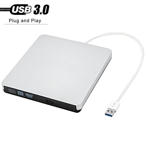 PowMax External CD Drive YIKUER USB 3.0 Slim Portable DVD/CD-RW Burner-Drive-Write With Built-in USB 3.0 Cable For Apple Macbook-Macbook Pro-Macbook And Laptop/Desktops Win 7/8.1/10 and Linux OS