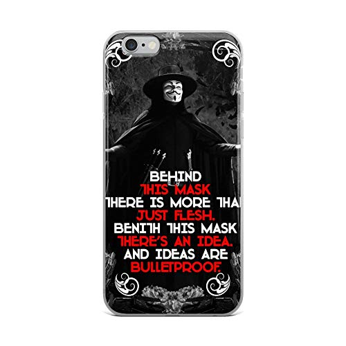 iPhone 6 Plus/6s Plus Case Anti-Scratch Motion Picture Transparent Cases Cover V Vendetta The Mask Quote Movies Video Film Crystal Clear]()