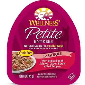Wellness Petite Entrees Casserole Beef, Salmon, Green Beans & Red Peppers Dog Food, 3 oz. Case of 24 For Sale