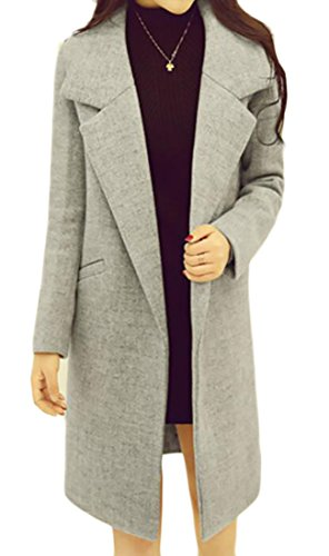SYTX Women's Outwear Snap Button Lapel Wool Blend Trench Coats Jacket Overcoat 3# US XL