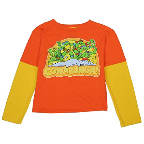 Ninja Turtles Toddler Little Boys Cowabunga! Long Sleeve Shirt (4T, Orange / Yellow)