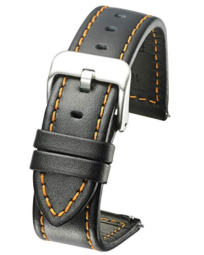 Genuine Waterproof Leather Watch Band with Quick Release Spring Bars - Black Leather Watch Strap 22mm - Orange Stitching