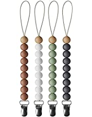 Silicone Pacifier Clip 4 Pack by o1baby, 4 Pack Teething Beads, Silicone and Wood Binky Holder for Newborns, Teether, Soother Holder