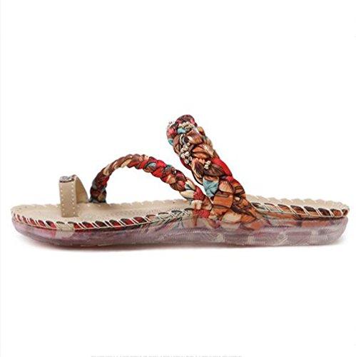 2cm Doux Pantoufles leader Femmes cool Pince de Strass Pantoufles plage Beauty Antidérapant Appartement Brown Chaussures avec Uw0tnqUX