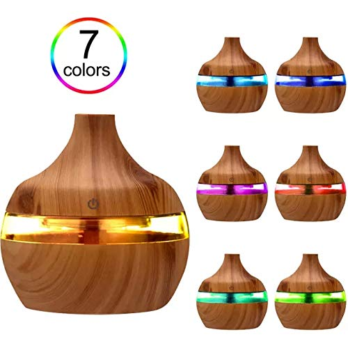 Humidificador De Aromaterapia Con Difusor LED De Aceite Esencial De Aroma (Madera)